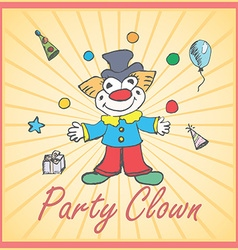Cartoon Clown and party elements colored hand vector image
