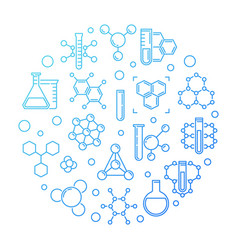 chemical background blue round outline vector image