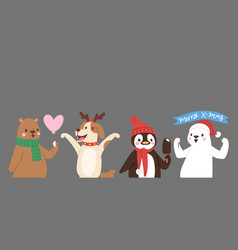 christmas cute animals banner vector image