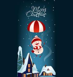 Christmas vertical banner design joyful snowman vector