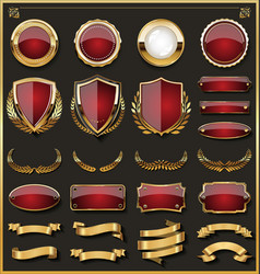 Collection of elegant red and golden badges and vector
