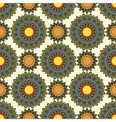 Colorful circle flower mandalas seamless pattern vector image