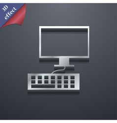 Computer monitor and keyboard icon symbol 3D style vector image
