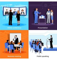 Conference public presentation 4 flat icons vector