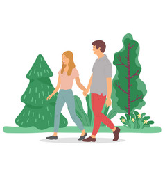 Couple on date walking in summer forest or park vector