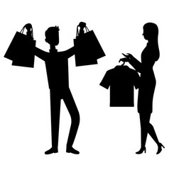 Customer and shop assistant isolated silhouette vector