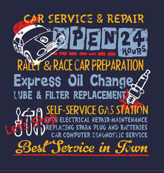 cute car service and repair gasoline station vector image