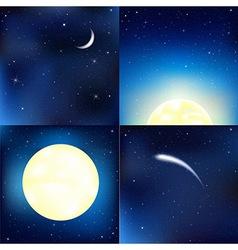 Dark blue sky set vector