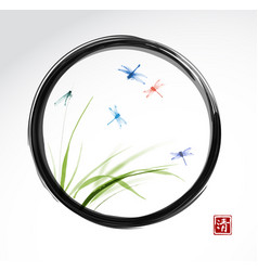 dragonflies flying over the green grass in black vector image