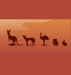 endangered wild australian animals silhouettes vector image