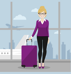 executive female walking with her suitcase at the vector image