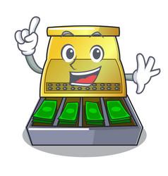 Finger cartoon cash register with a money drawer vector