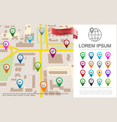 flat city map gps concept vector image