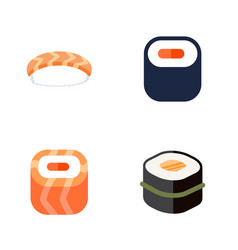 flat icon sushi set of maki oriental seafood and vector image