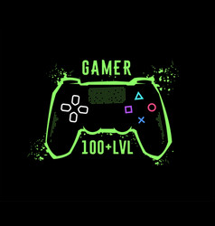 gamer 100 level gamepad emblem t-shirt graphics vector image