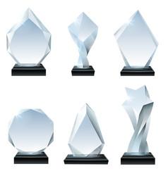 glass trophy award acrylic awards crystal shape vector image
