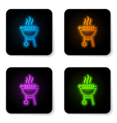 glowing neon barbecue grilled shish kebab on vector image