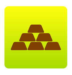 gold simple sign brown icon at green vector image