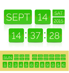 green flip calendar with flat countdown timer with vector image