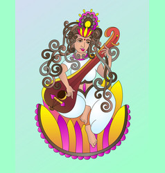 hand drawing of indian hindu goddess saraswati vector image