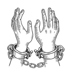 Hands in handcuffs engraving vector