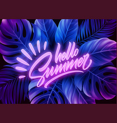 hello summer neon lettering on a background vector image