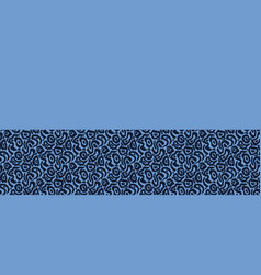 Indigo blue abstract stylized animal skin border vector