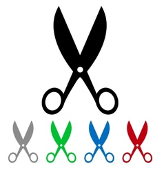 isolated colorful big and small scissors vector image