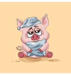 Isolated Emoji character cartoon sleepy Pig in vector