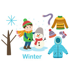 Isolated winter set with boy tree and clothes vector