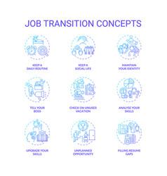 Job transition concept icons set vector