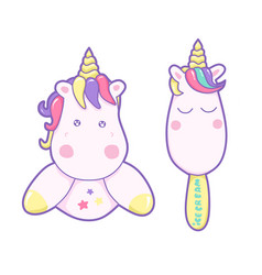 kawaii cute unicorn and ice cream sweetly pastel vector image