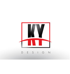 ky k y logo letters with red and black colors and vector image