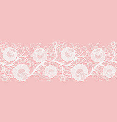 Lace horizontal seamless openwork roses white vector