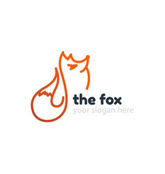 line fox logo template vector image