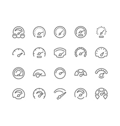 Line Speedometer Icons vector
