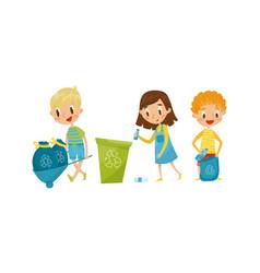 Little boy and girl gathering plastic bottles for vector