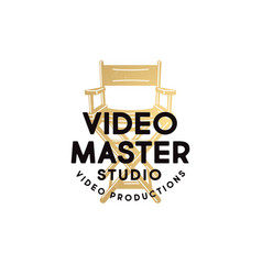 logo video master chair video production studio vector image