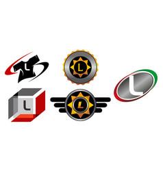 Logotype l modern template set vector