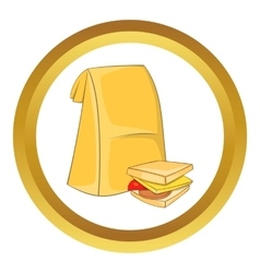 Lunch bag and sandwich icon vector image