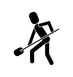 Man shovel digging work construction pictogram vector
