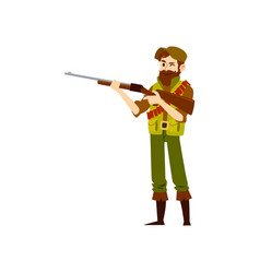 Man wearing in hat and vest and boots stands vector