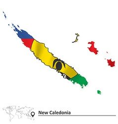 Map of New Caledonia with flag vector image