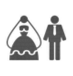 marriage persons halftone dotted icon vector image