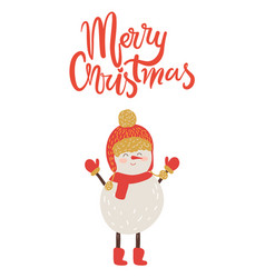 merry christmas poster congratulation from snowman vector image