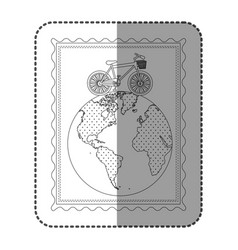 Monochrome frame with bicycle over the world map vector