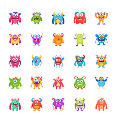 monster characters icons vector image