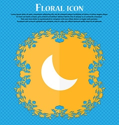 moon icon Floral flat design on a blue abstract vector image