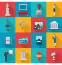 Museum Icons Flat Set vector image