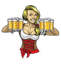 Oktoberfest girl holding the beers vector